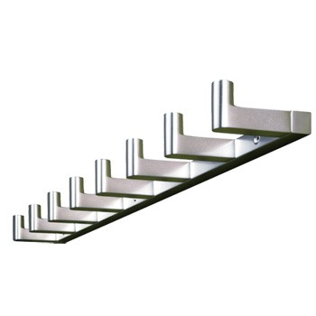 1001-coat rack with 8 hooks - anodized silver